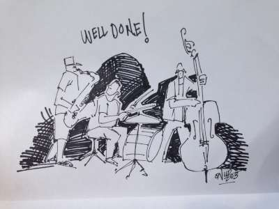 Artist's impression of the trio playing